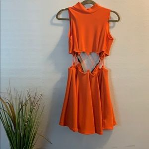 Orange cutt out dress
